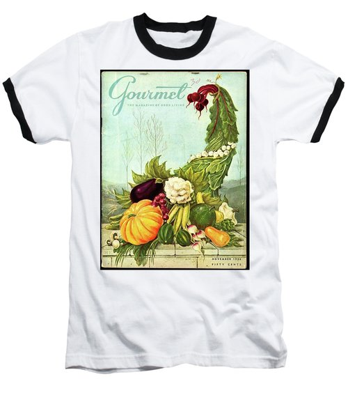 Gourmet Cover Illustration Of A Cornucopia Baseball T-Shirt