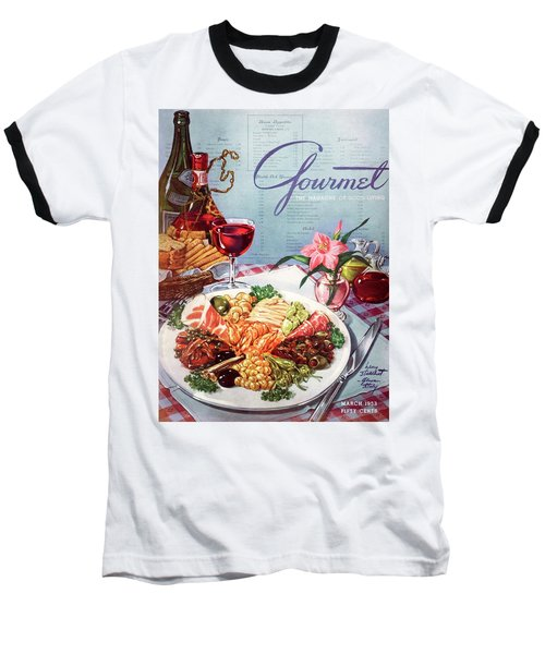Gourmet Cover Illustration Of A Plate Of Antipasto Baseball T-Shirt
