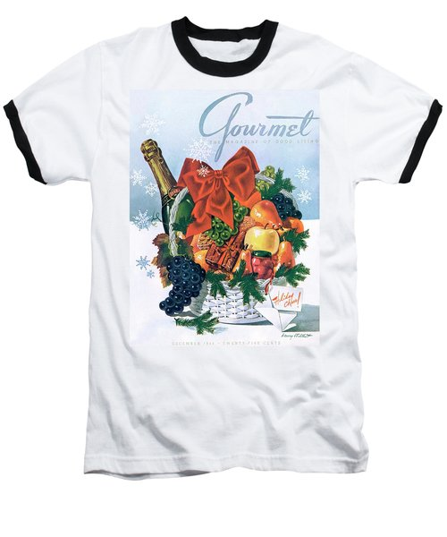 Gourmet Cover Illustration Of Holiday Fruit Basket Baseball T-Shirt