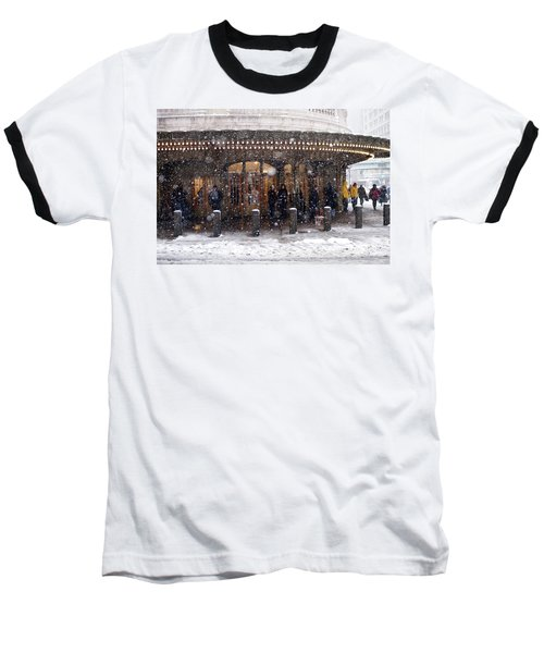 Grand Central Terminal Snow Color Baseball T-Shirt