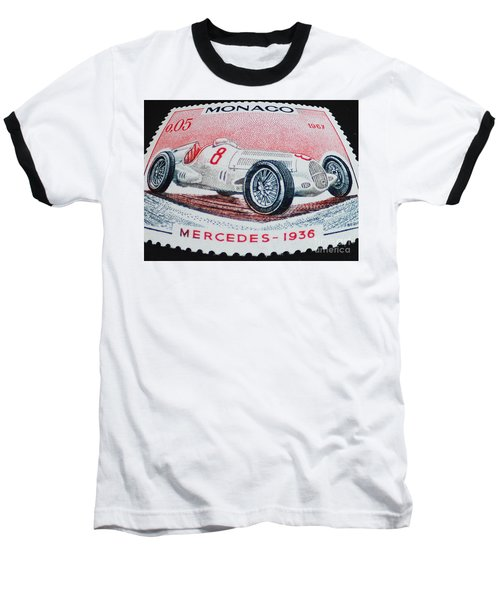 Grand Prix De Monaco 1936 Vintage Postage Stamp Print Baseball T-Shirt by Andy Prendy