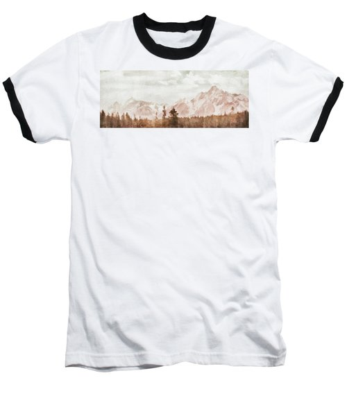 Baseball T-Shirt featuring the painting Grand Teton Mountains by Greg Collins
