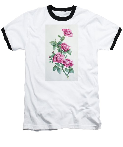 Baseball T-Shirt featuring the painting Grandma Helen's Roses by Katherine Young-Beck