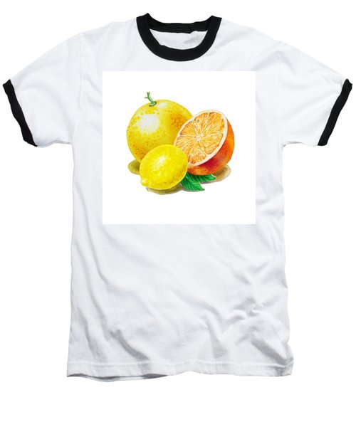 Baseball T-Shirt featuring the painting Grapefruit Lemon Orange by Irina Sztukowski