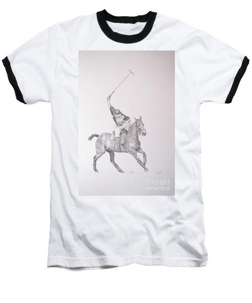 Graphite Drawing - Shooting For The Polo Goal Baseball T-Shirt