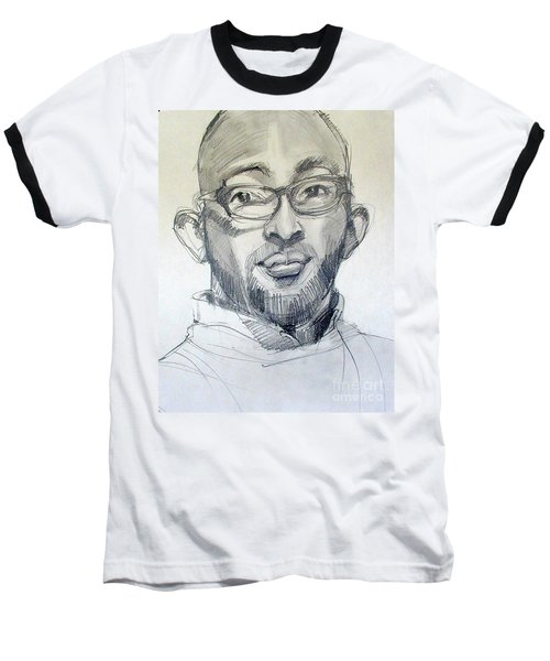 Baseball T-Shirt featuring the drawing Graphite Portrait Sketch Of A Young Man With Glasses by Greta Corens