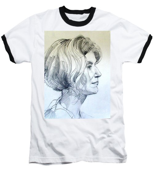 Baseball T-Shirt featuring the drawing Portrait Drawing Of A Woman In Profile by Greta Corens