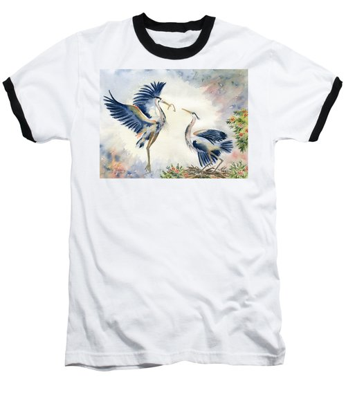 Great Blue Heron Couple Baseball T-Shirt by Melly Terpening