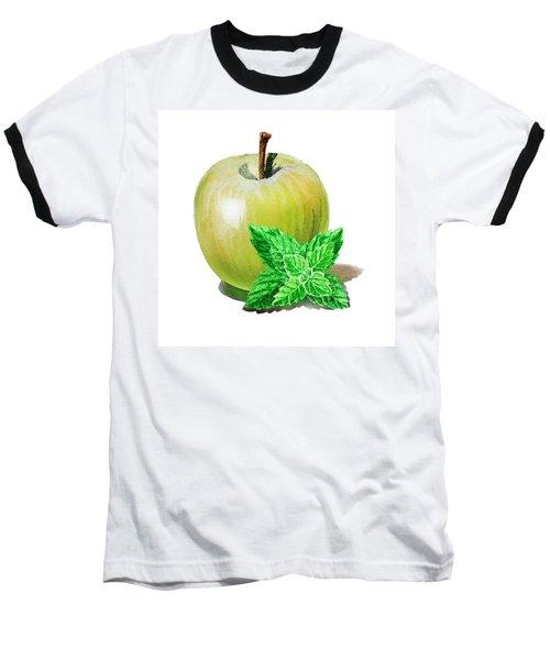 Baseball T-Shirt featuring the painting Green Apple And Mint by Irina Sztukowski