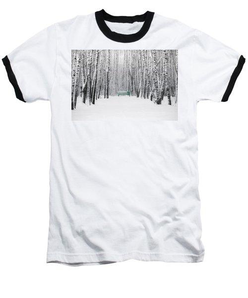 Green Bench Baseball T-Shirt by Alexander Senin