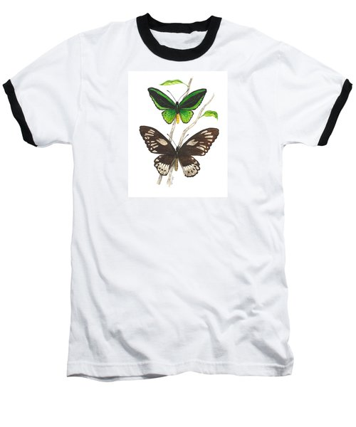 Green Birdwing Butterfly Baseball T-Shirt by Cindy Hitchcock