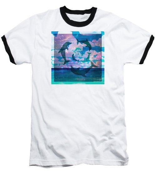 Green Dolphin Dance Baseball T-Shirt