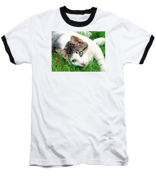 Baseball T-Shirt featuring the photograph Green Eyed Cat by Janette Boyd