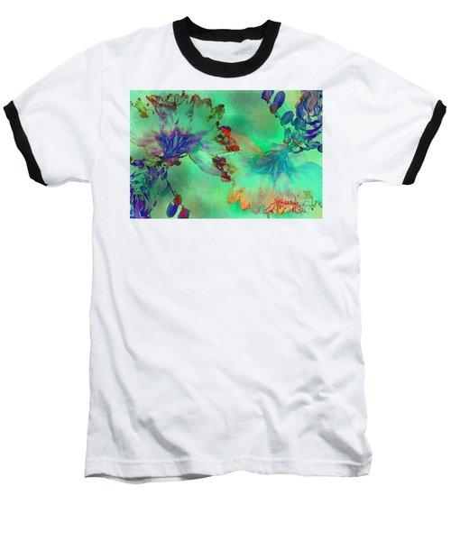 Green Hibiscus Mural Wall Baseball T-Shirt by Claudia Ellis