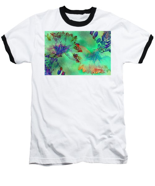 Green Hibiscus Mural Wall Baseball T-Shirt