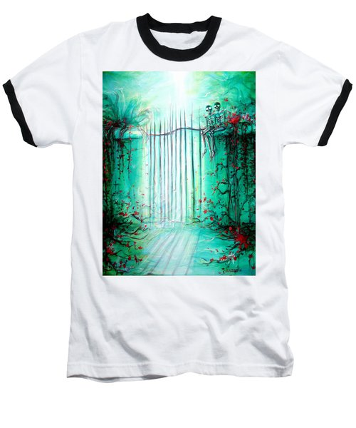 Green Skeleton Gate Baseball T-Shirt by Heather Calderon