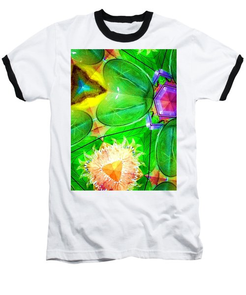 Green Thing 2 Abstract Baseball T-Shirt by Saundra Myles