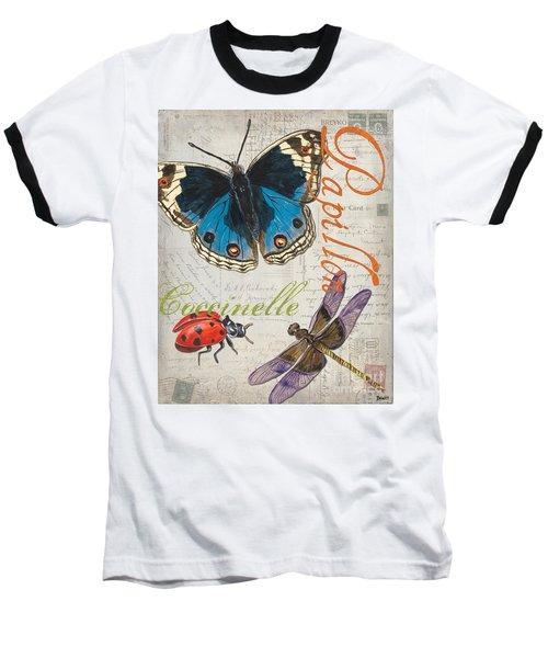 Grey Postcard Butterflies 4 Baseball T-Shirt