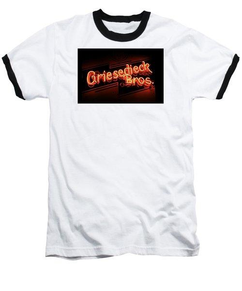 Griesedieck Brothers Beer Neon Sign Baseball T-Shirt by Jane Eleanor Nicholas
