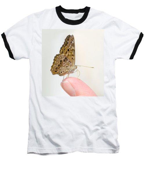 Hackberry Emperor On Finger Baseball T-Shirt by Melinda Fawver