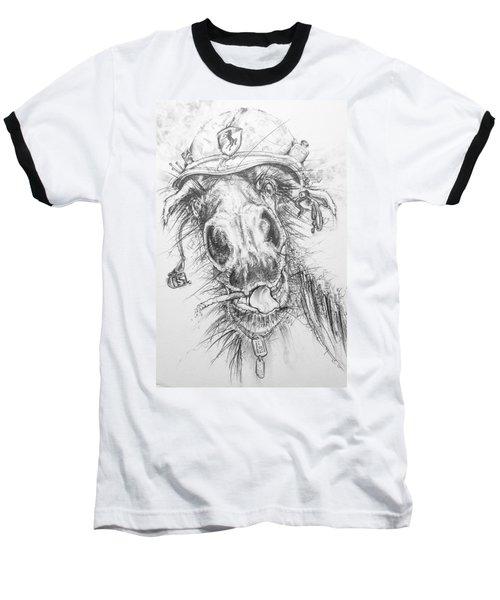 Hair-ied Horse Soilder Baseball T-Shirt by Scott and Dixie Wiley