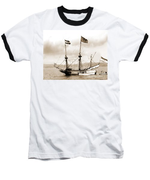 Half Moon Re-entered Hudson River After An Absence Of 300 Years In Sepia Tone Baseball T-Shirt