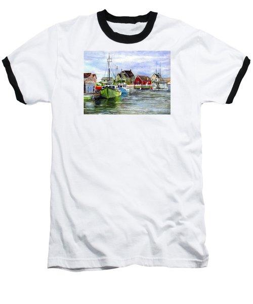 Baseball T-Shirt featuring the painting Peggys Cove Nova Scotia Watercolor by Carol Wisniewski