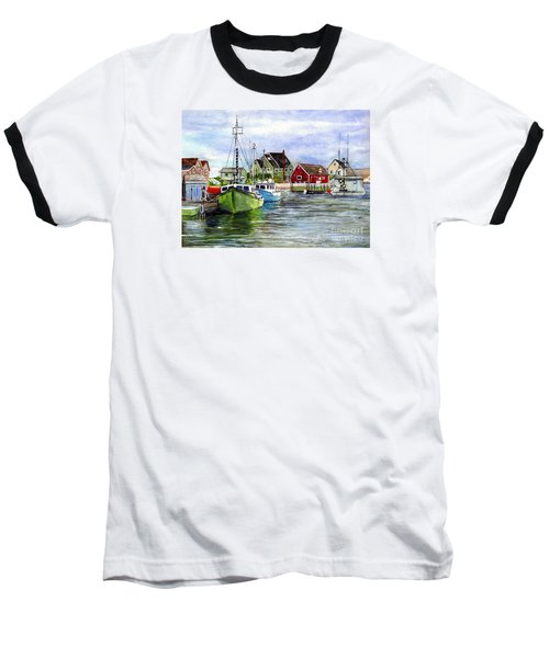 Peggys Cove Nova Scotia Watercolor Baseball T-Shirt