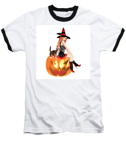 Halloween Witch Nicki With Kitten Baseball T-Shirt