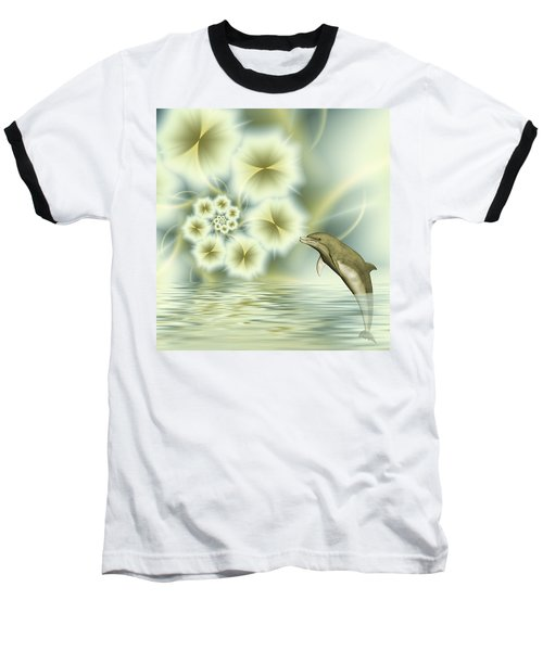 Happy Dolphin In A Surreal World Baseball T-Shirt by Gabiw Art