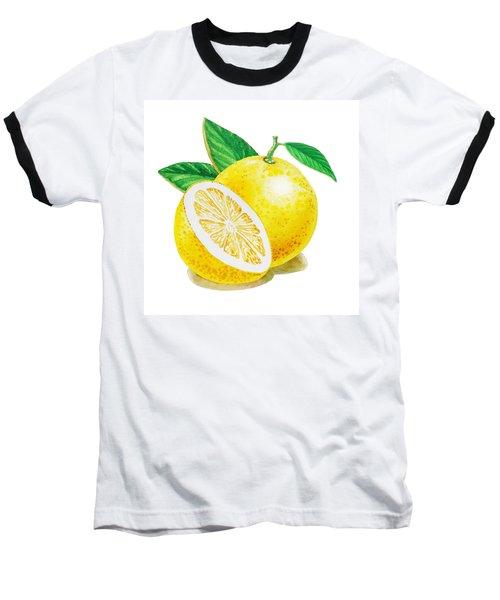 Baseball T-Shirt featuring the painting Happy Grapefruit- Irina Sztukowski by Irina Sztukowski