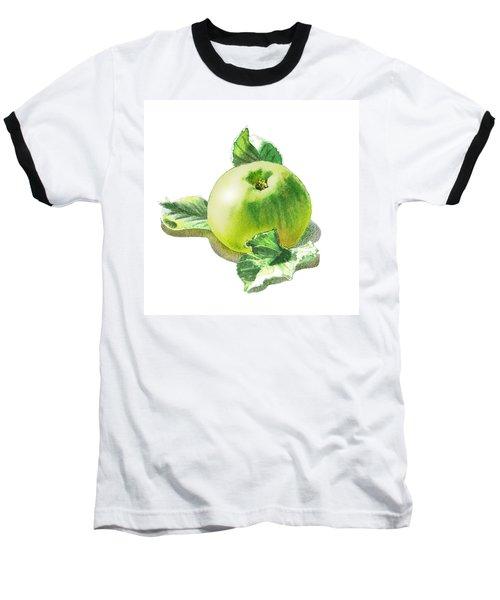 Baseball T-Shirt featuring the painting Happy Green Apple by Irina Sztukowski