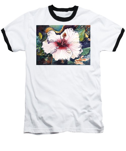 Baseball T-Shirt featuring the painting Happy Hawaiian Hibiscus by Marionette Taboniar