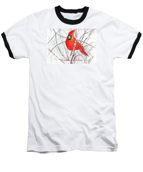 Happy Holidays Snow Cardinal Baseball T-Shirt