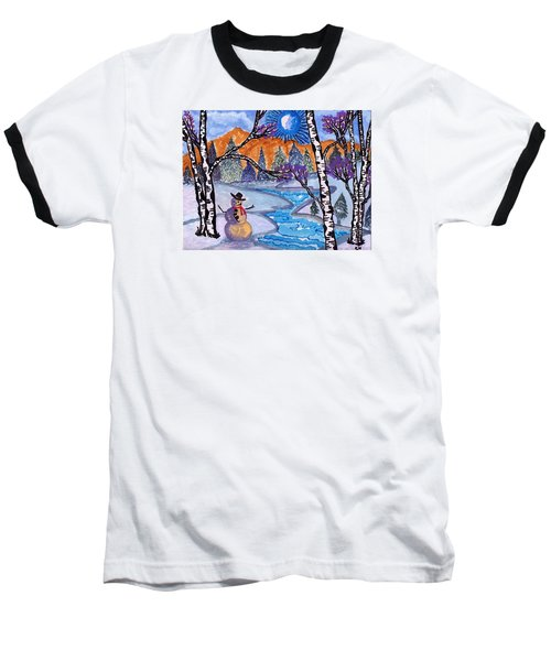 Baseball T-Shirt featuring the painting Happy Snowman by Connie Valasco