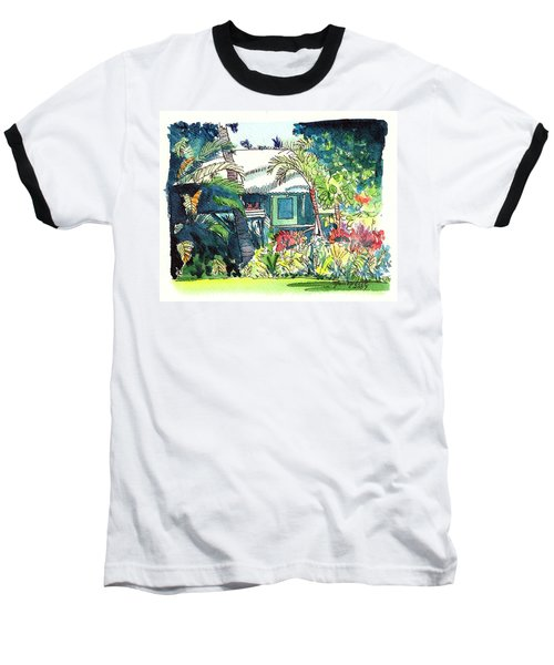 Baseball T-Shirt featuring the painting Hawaiian Cottage 3 by Marionette Taboniar