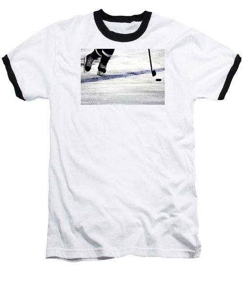 He Skates Baseball T-Shirt by Karol Livote