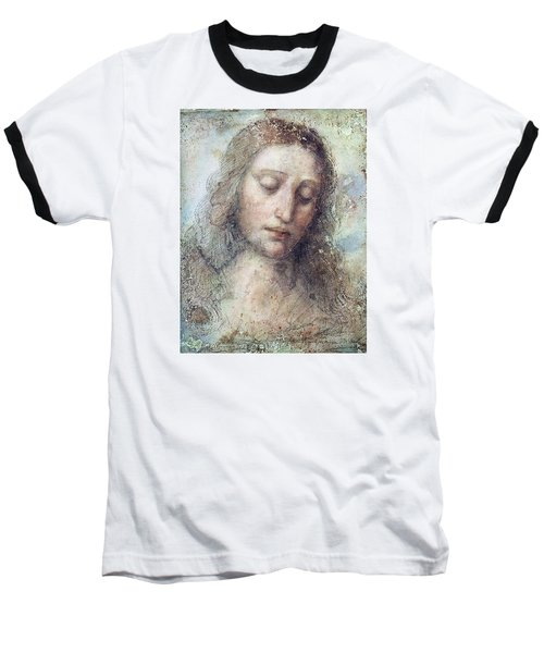 Baseball T-Shirt featuring the drawing Head Of Christ Restoration Art Work by Karon Melillo DeVega