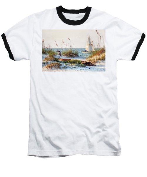 Heron And Sailboat Baseball T-Shirt