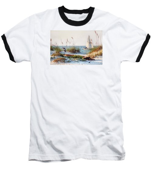 Heron And Sailboat Baseball T-Shirt