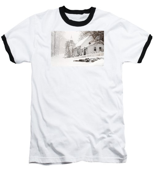 Baseball T-Shirt featuring the photograph Historic Church In Oella Maryland During A Blizzard by Vizual Studio