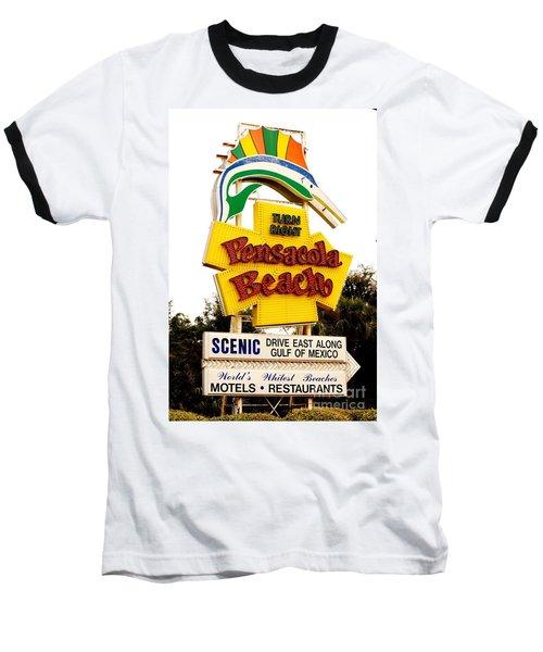 Historic Pensacola Beach Sign Baseball T-Shirt