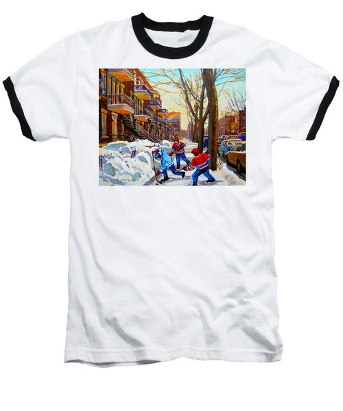 Hockey Art - Paintings Of Verdun- Montreal Street Scenes In Winter Baseball T-Shirt