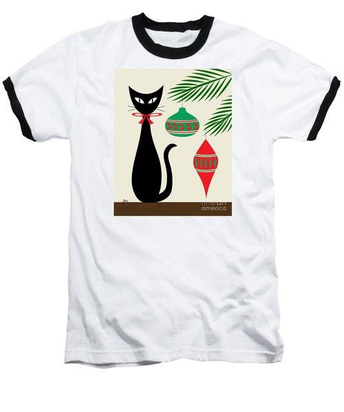 Holiday Cat On Cream Baseball T-Shirt