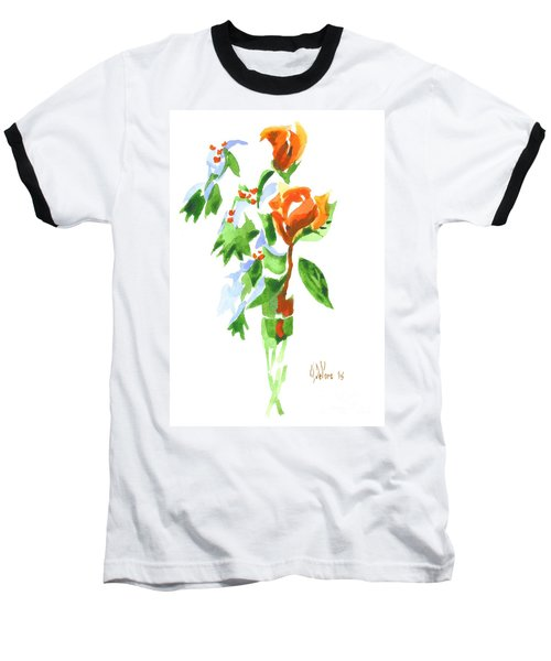 Baseball T-Shirt featuring the painting Holly With Red Roses In A Vase by Kip DeVore