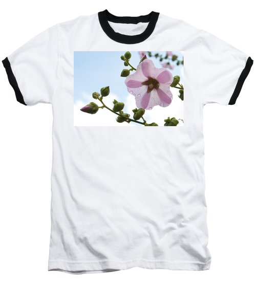 Baseball T-Shirt featuring the photograph Hollyhock With Raindrops by Lana Enderle