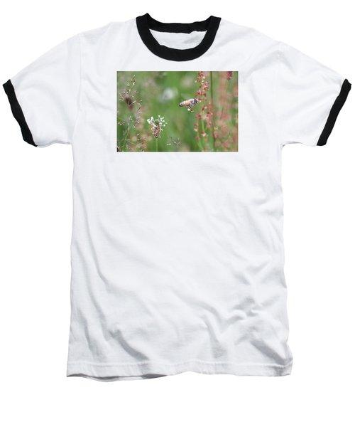 Honeybee Flying In A Meadow Baseball T-Shirt by Lucinda VanVleck