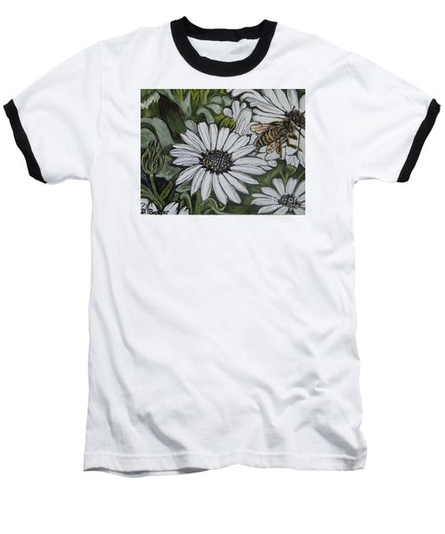 Baseball T-Shirt featuring the painting Honeybee Taking The Time To Stop And Enjoy The Daisies by Kimberlee Baxter