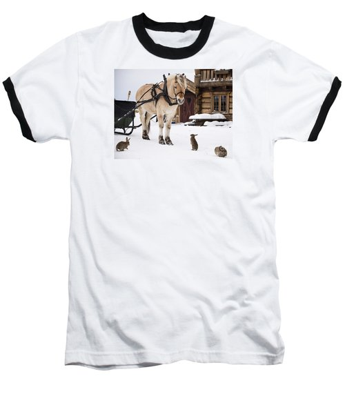 Horse And Rabbits Baseball T-Shirt