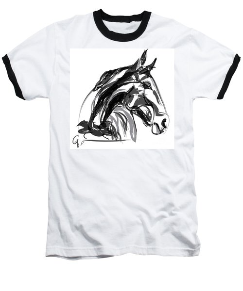 Horse- Apple -digi - Black And White Baseball T-Shirt